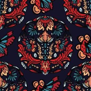 Boho flower mandala vector all over print.