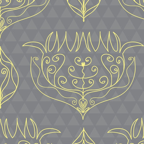 Boho Floral in soft yellow and grey triangles