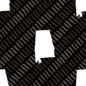 Alabama State Shape Black and White Stripes