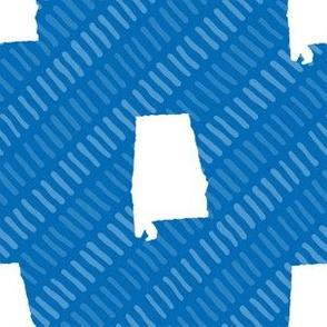 Alabama State Shape Blue and White Stripes