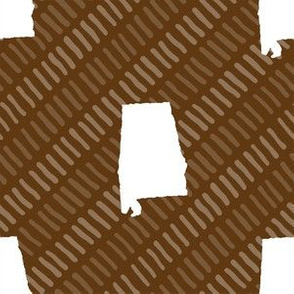 Alabama State Shape Brown and White Stripes