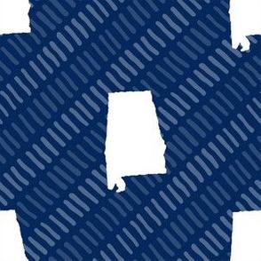 Alabama State Shape Dark Blue and White Stripes