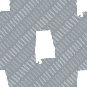 Alabama State Shape Grey and White Stripes