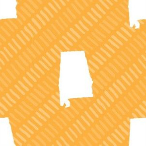 Alabama State Shape Yellow and White Stripes