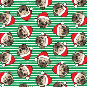 (small scale) Christmas Pugs - Santa hats - Dog -  green  stripes - LAD19BS