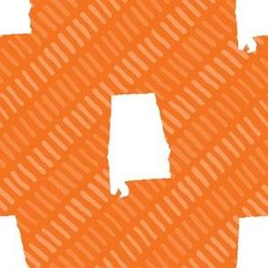 Alabama State Shape Orange and White Stripes