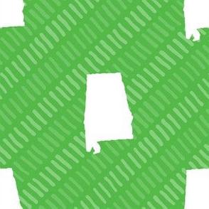 Alabama State Shape Lime Green and White Stripes