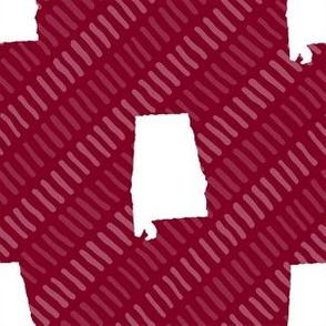 Alabama State Shape Garnet and White Stripes