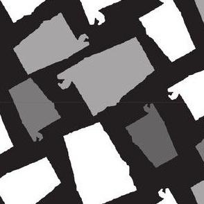 Alabama State Shape Black and White