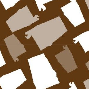 Alabama State Shape Brown and White