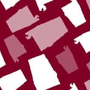 Alabama State Shape Garnet and White
