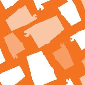 Alabama State Shape Orange and White
