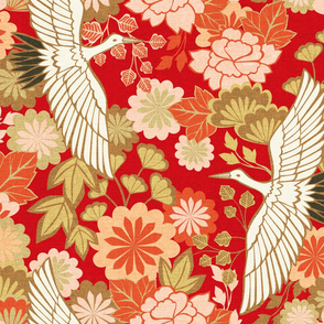 Cranes and Chrysanthemums {Red} - large