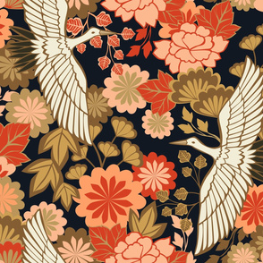 Cranes and Chrysanthemums {Black} - large scale
