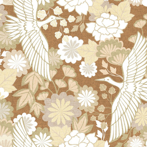 Cranes and Chrysanthemums {Fawn} - large scale