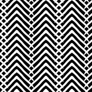 Arrows or mountains? White on Black - Medium scale