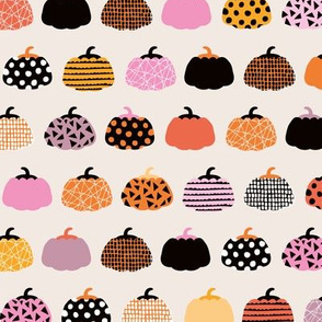 Fall fruit geometric pumpkin design Scandinavian style halloween pattern orange pink girls