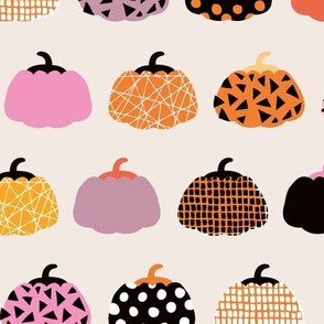 Fall fruit geometric pumpkin design Scandinavian style halloween pattern orange pink girls LARGE