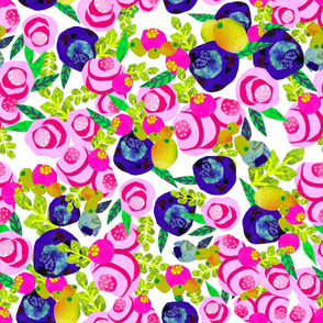 BRIGHT FLORAL COLLAGE PATTERN TILE