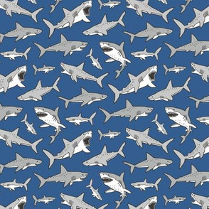 Sharks Shark Grey on Navy Blue Smaller