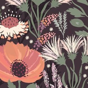 Modern Neutral Floral Dark Large