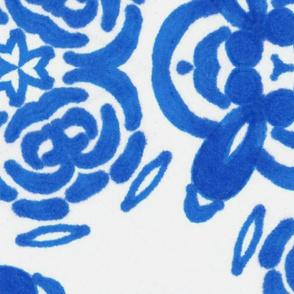 blue boho  hand drawn