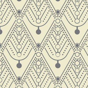 Dotted Deco / Cream - Grey / Diamond Swag