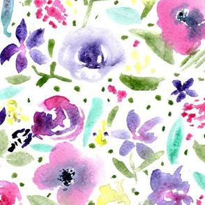 Bloom in Paris • watercolor floral pattern
