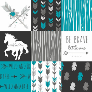 Horse Quilt with Floral Arrows - Teal, Black, Grey, White