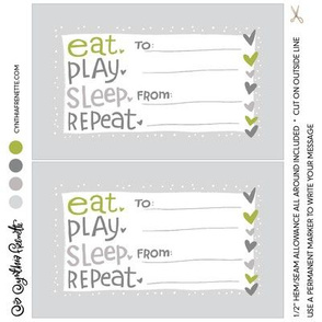 Quilt label- Eat Play Sleep Repeat- Green
