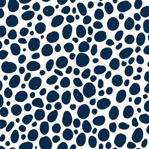 Navy Blue and White Spots