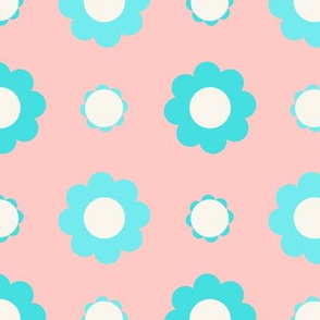 Blue and white flowers over pink