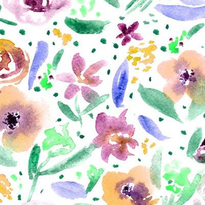 Bloom in Paris • mustard and purple • watercolor florals