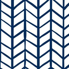 Navy and White Herringbone