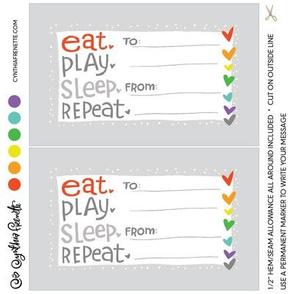 Quilt label- Eat Play Sleep Repeat Rainbow