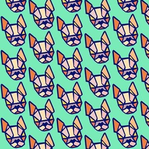 Origami Boston Terrier face fabric in teal