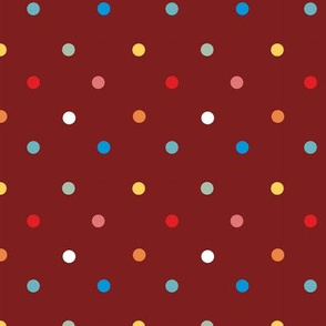 1065 Colorful Dots - dark red