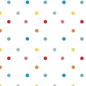 1067 Colorful Dots - white