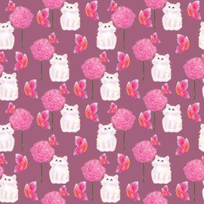Cute kitty watercolor hand drawn seamless pattern design