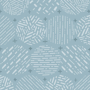 Patchwork Calming Circles // Neutral Geometric // Aqua, Gray, Pale Blue // Lines, Dots, Texture, Pattern, Shapes
