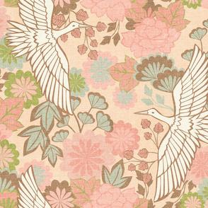 Cranes and Chrysanthemums {Spring} - large