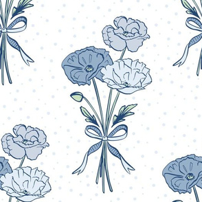 Blue Poppies With A Bow