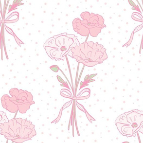Pink Poppies With Bow