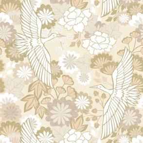 Cranes and Chrysanthemums {Cream} - medium