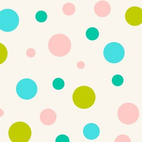 Multicolor circles over beige