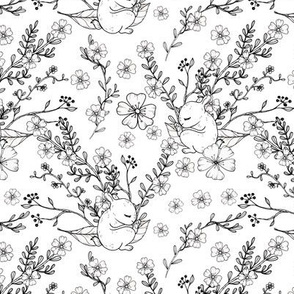 1133 INKED FLOWERS  _ BUNNY -white