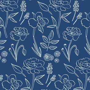Navy Blue Garden Flowers