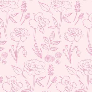 Blush Pink Garden Flowers