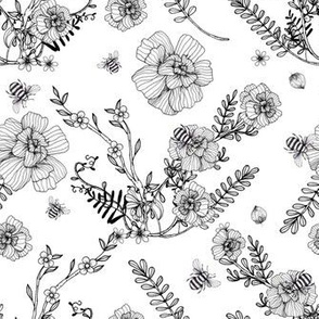 1138 INKED FLOWERS _ BEES- white