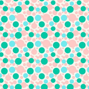 Green, blue and pink circles over beige